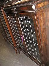 Early 20th Century oak bookcase with two leaded glass doors