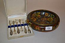 Cloisonne floral decorated low bowl together with a set of six Continental 800 standard silver forks in fitted box
