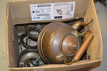 Copper kettle, French coffee pot and other miscellaneous metal ware
