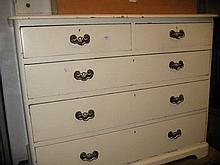 Victorian white painted pine dressing chest with swing frame mirror and jewel drawers