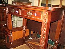 Reproduction mahogany two drawer writing table
