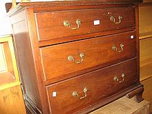 Early 20th Century mahogany three drawer bedroom chest and a matching bedside cupboard