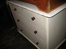 Victorian white painted pine three drawer chest with knob handles and bun feet