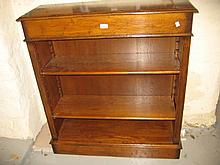 Good quality reproduction oak three shelf open bookcase with plinth base