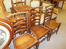 Set of four 18th Century elm ladder back chairs with panel seats on turned supports together with a pair of similar ladder back chairs