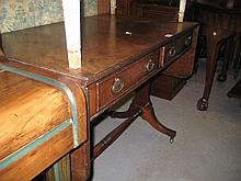 Reproduction mahogany drop-leaf sofa table with two drawers together with a mahogany triple section dressing table mirror