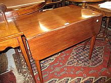 George III mahogany and black line inlaid rectangular drop-leaf Pembroke table with a single end drawer on square tapering supports