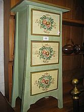 Small modern green painted three drawer chest with floral decoration together with a modern two drawer chest on casters