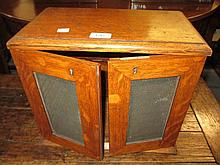 Oak two door cabinet with hinged cover (converted)