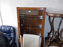 1930's Walnut display cabinet with single glazed door above two drawers on carved cabriole supports
