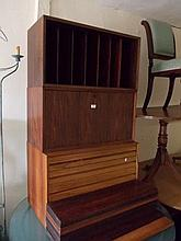 Mid 20th Century Scandinavian rosewood wall unit formed of adjustable open shelves above an arrangement of drawers, cupboards and further shelves