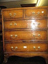Reproduction mahogany dwarf chest of two short and three long drawers with splay supports