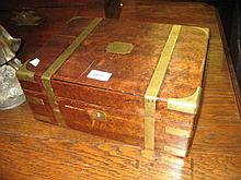 19th Century mahogany and brass banded jewellery casket