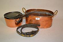 Small oval copper two handled cooking pan, two copper iron handled cooking pots with lids and a leather brass mounted harness strap