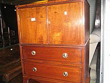 19th Century mahogany converted commode chest of drawers on bracket feet