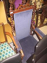 19th Century open elbow chair having padded back and barley twist decoration on turned supports with stretchers