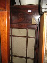 Early 19th Century mahogany wall cabinet with a moulded cornice above two astragal glazed doors with a drop-flap below