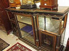 Good quality 19th Century burr walnut and line inlaid ebonised breakfront credenza with central glazed door flanked by tapering gilded reeded columns and two mirrored back shelves over panelled doors on a plinth base