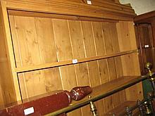 Modern stripped pine three shelf open bookcase