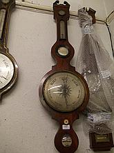 George III mahogany wheel barometer with silvered dial inscribed Beri and Dalera Leek