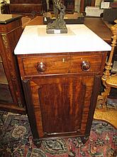 Pair of 19th Century mahogany pedestal cupboards, the associated marble tops above single drawer and cupboard door flanked by reeded pilasters on baluster turned and spiral fluted front supports