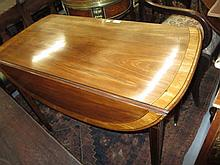George III mahogany and satinwood crossbanded oval drop-leaf Pembroke table with a single end drawer raised on square tapering supports with brass caps and casters