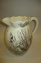 Large Victorian transfer printed jug decorated with birds
