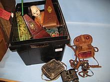 Two cased pairs of field glasses, a metronome and other miscellaneous small collectables