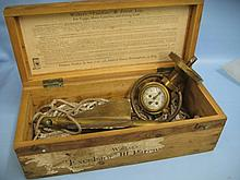 Early 20th Century brass ships log ' Walkers Excelsior III ' in pine box