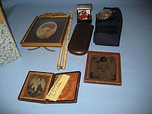 19th Century gilt brass photograph frame, an ivory parasol handle and other miscellaneous items