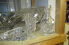 Three items of Waterford cut glass and a Webb cut glass fan shaped vase