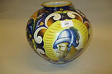 19th Century Italian Majolica bulbous form vase decorated with a Roman bust and floral body, 10ins high
