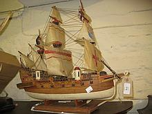 20th Century model of a three masted sailing ship on stand
