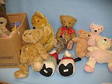 Four various Steiff soft toys, two Liberty soft toys and five other soft toys