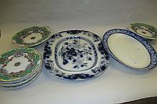 Two blue and white meat plates and a 19th Century floral decorated part dessert service on green and cream ground