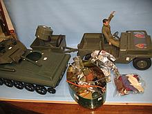 Action Man with miscellaneous accessories including jeep, tank and search light etc.