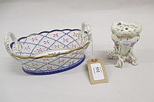 Continental porcelain hat pin stand in Meissen style, hand painted with flowers and insects together with a French style porcelain oval two handled basket of pierced design