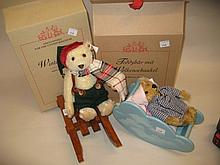 Steiff Limited Edition ' Winter Bear ', 21cms in original box together with another teddy bear with a cloud cradle, light brown, 14cms with original box
