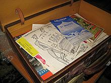 Suitcase containing a collection of miscellaneous theatre programmes