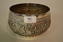 Circular Indian white metal bowl relief moulded with figures
