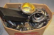 Cased carving set, plated spirit kettle and other miscellaneous items of silver plate