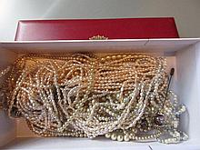 Multi strand freshwater pearl necklet and other miscellaneous simulated pearls and costume jewellery