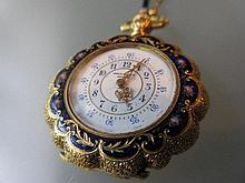 Henry Capt, Geneva, yellow gold enamel decorated and diamond set fob watch suspended on a gold enamel decorated chain