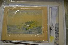 Small quantity of miscellaneous unframed watercolours and prints