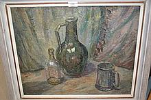 John Bowes, oil on canvas, study of a jug, bottle and mug on a table top, indistinctly signed, 17ins x 21ins, in a painted frame