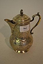 Persian white metal lidded jug with engraved floral decoration