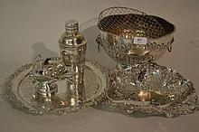 Plated salver, plated rose bowl and other miscellaneous items of silver plate