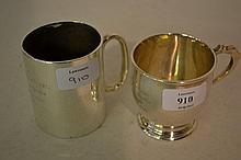 Two Birmingham silver Christening mugs