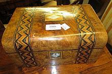 Victorian walnut and parquetry inlaid jewel box