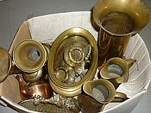 Art Nouveau brass jug, a brass shell case and other miscellaneous metal ware